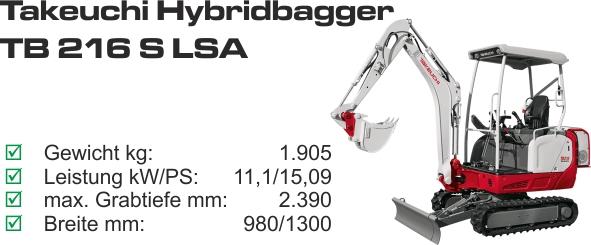 TB 216 S LSA mieten